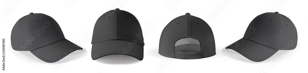 Fototapeta Cap mockup set. Isolated realistic black baseball cap hat templates. Front, back and angle view of adult man caps mockup collection. Vector sport uniform headwear clothing fashion mock up