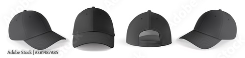 Obraz Cap mockup set. Isolated realistic black baseball cap hat templates. Front, back and angle view of adult man caps mockup collection. Vector sport uniform headwear clothing fashion mock up - fototapety do salonu