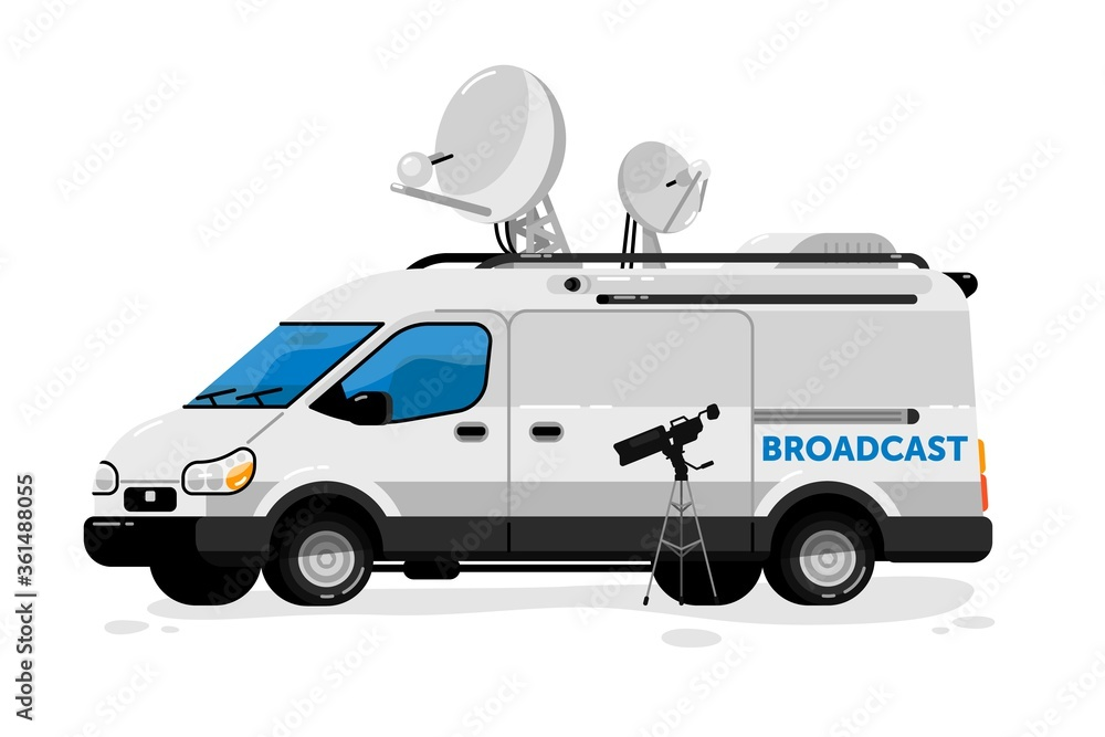 Fototapeta Broadcasting van. Isolated media broadcasting communication transport and video camera. Television channel van auto vehicle with satellite antennas press equipment for live breaking news broadcast