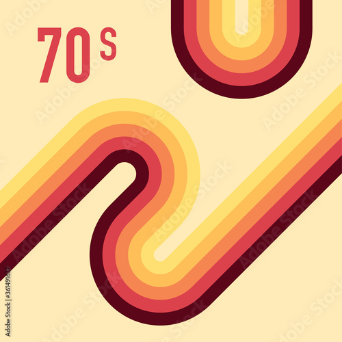 Obraz 70s, 1970 abstract vector stock retro lines background. Vector illustration. - fototapety do salonu