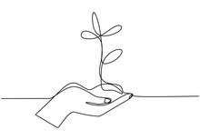 Hand Holding Plant's Pot. Continuous One Line Drawing Of Back To Nature Theme. Growing Plant In Hand Palm. Concept Of Growing And Love Earth Hand Drawn Vector Design Illustration.