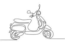 One Line Drawing Motorcycle. Abstract Motor Matic Hand Draw Line Art Minimal Design Isolated On White Background. Vintage Asian Motorbike Logo. Retro Transportation Concept. Vector Illustration