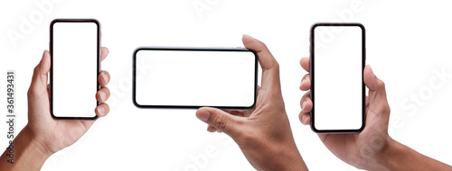 Fotografía Studio shot of Business  Hand holding Smartphone iPhone set and isolated on white background for your mobile phone app or web site design, logo  Global Business technology -include clipping path