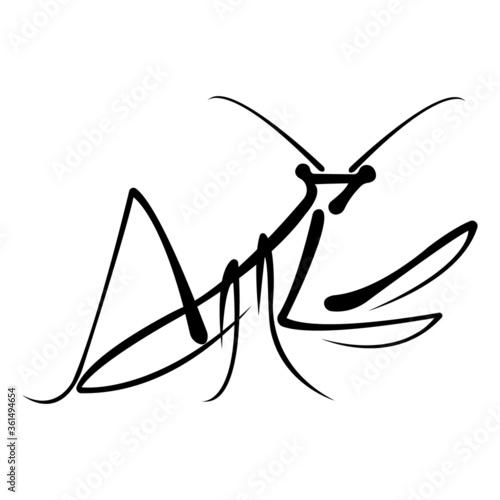 Tablou Canvas Black mantis drawn in a flat style