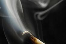Smoke On A Burnt Match. Close-...