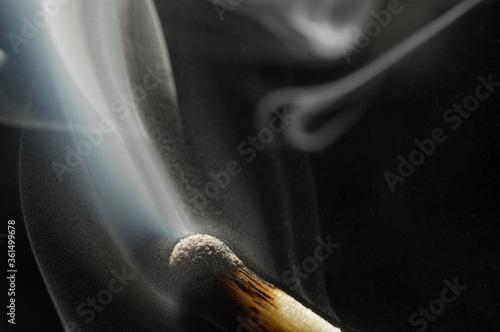 Smoke on a burnt match. Close-up. Macro photography. Canvas Print