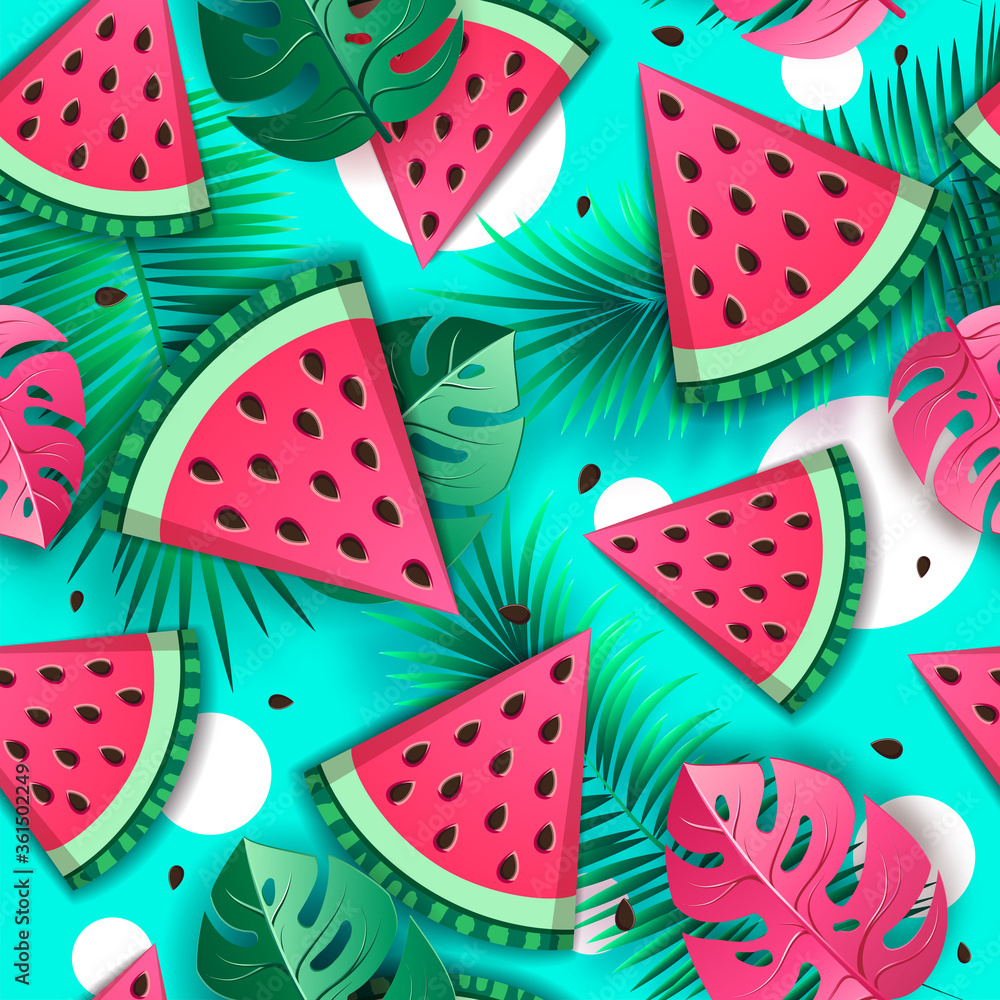 Fototapeta Seamless pattern with watermelon slices and tropic leaves. Vector illustration. Watermelon summer background