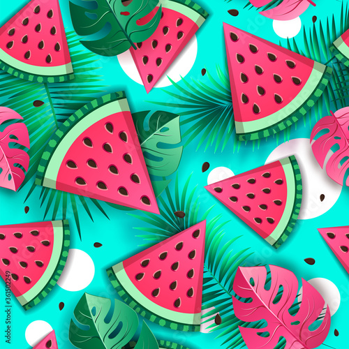 Seamless pattern with watermelon slices and tropic leaves. Vector illustration. Watermelon summer background