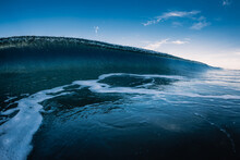 Blue Glassy Wave And Sky. Cras...
