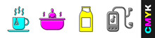 Set Cup Of Tea With Tea Bag, Bathtub, Bottle With Milk And Music Player Icon. Vector.
