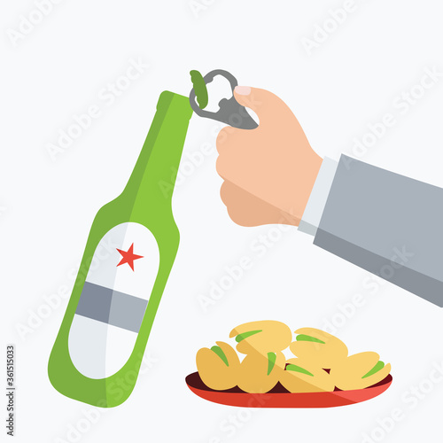 Photo hand holds alcohol isolated art & opens with opener beer bottle flat design cartoon