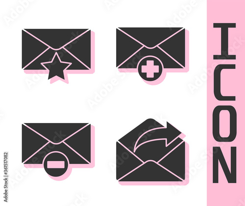 Fotografia, Obraz Set Outgoing mail, Envelope with star, Delete envelope and Received message concept icon