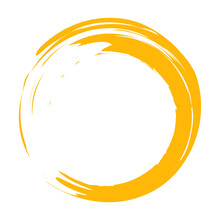 Circle Brush Stroke Vector Isolated On White Background. Orange Enso Zen Circle Brush Stroke. For Stamp,seal, Ink And Paintbrush Design Template. Grunge Hand Drawn Circle Shape, Vector Illustration