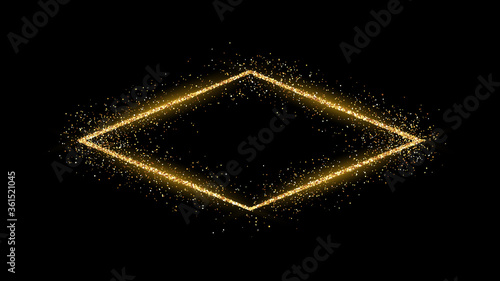 Photo Golden rhombus frame with glitter