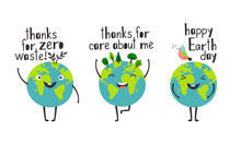 Happy Earth Day. Cartoon Happy Planets Give Thanks For Care And Zero Waste Concept, Green Environment For Love And Peace, Illustration Eco Friendly World Isolated On White Backgroun