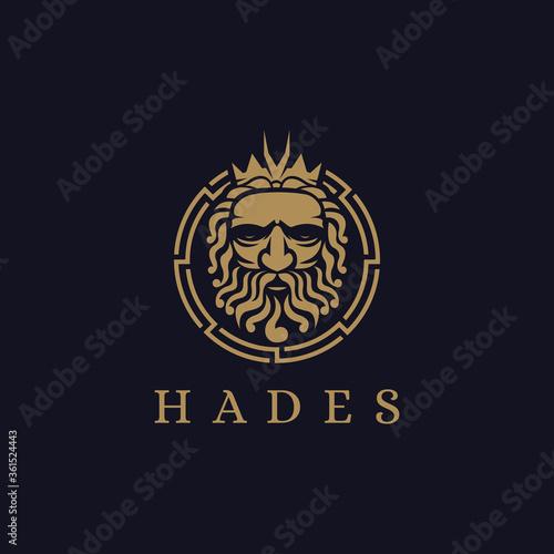 Haides God logo icon illustration vector on dark background, Pluto god logo, ork Canvas Print