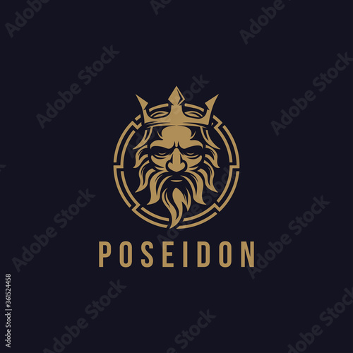 Valokuva Poseidon nepture god logo icon, tritont trident crown logo icon vector template