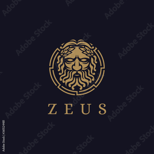 Fotografia Zeus God logo icon illustration vector on dark background, Lopiter logo, jupiter