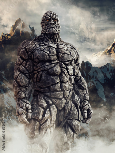 Fantasy stone giant made of rock standing in front of snowy mountains Wallpaper Mural