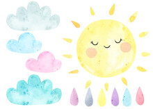 Watercolor Sun, Clouds, Drop, ...