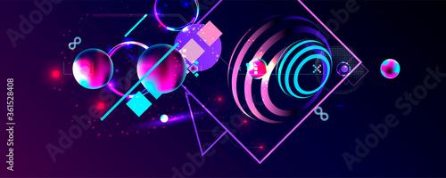 Fotografía Dark retro futuristic art neon abstraction background cosmos new art 3d starry s