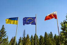 Flags Of Ukraine Of The Europe...