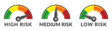 Risk Gauge Scale Measure High, Medium And Low Risk Speedometer Icon From Green To Red Isolated