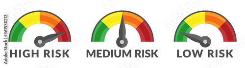 Risk Gauge Scale Measure High, Medium and Low Risk Speedometer Icon from Green t Tableau sur Toile