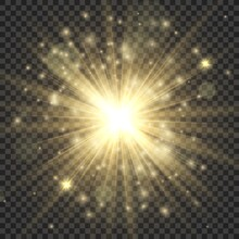 Gold Glowing Star. Stylish Bri...
