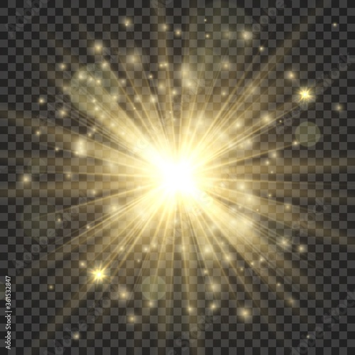 Gold glowing star Canvas Print
