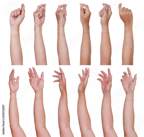 Fototapety, obrazy: GROUP of Male asian hand gestures isolated over the white background. Grab Thing with two fingers Action.