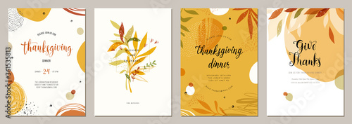 Obraz Trendy abstract Thanksgiving templates. Good for poster, card, invitation, flyer, cover, banner, placard, brochure and other graphic design.  - fototapety do salonu
