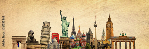 World landmarks and famous monuments collage isolated on panoramic vintage textu Fototapet