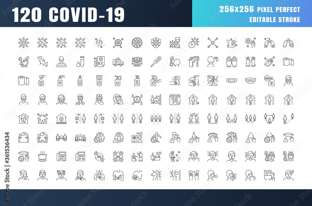 Fototapeta Covid-19 Prevention Line Outline Icons. Coronavirus, Social Distancing, Quarantine, Stay Home. 256x256 Pixel Perfect. Editable Stroke.