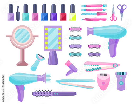 Set of devices for hair styling and manicure, depilation Canvas Print