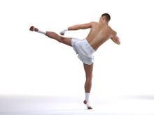3D Render : The Portrait Of Male Boxer, Perform Muay Thai Martial Arts