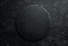 Black Stone Round Slate Plate ...