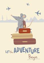 Illustration Of Rat With Suitc...