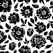 Seamless Floral Vector Pattern With Peonies, Roses, Anemones. Hand Drawn Black Paint Illustration With Abstract Flowers.