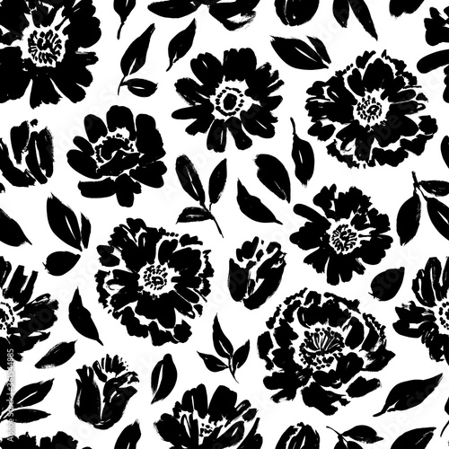 Tapeta czarno biała  seamless-floral-vector-pattern-with-peonies-roses-anemones-hand-drawn-black-paint-illustration-with-abstract-flowers