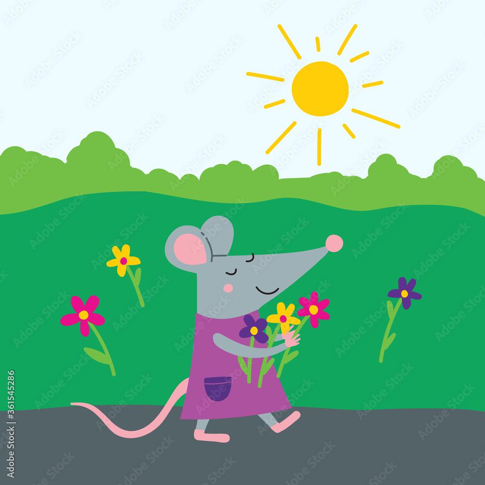 Fototapeta Happy rat in dress with flowers