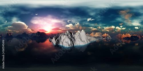 Fotografia, Obraz arctic landscape at sunrise, HDRI, environment map , Round panorama, spherical p