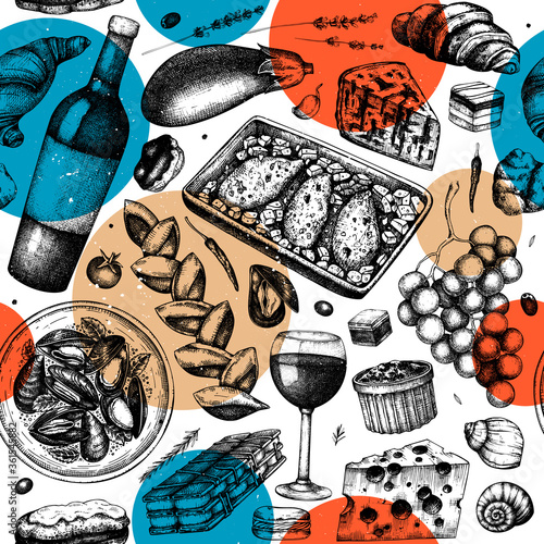 French food trendy seamless pattern Fototapet