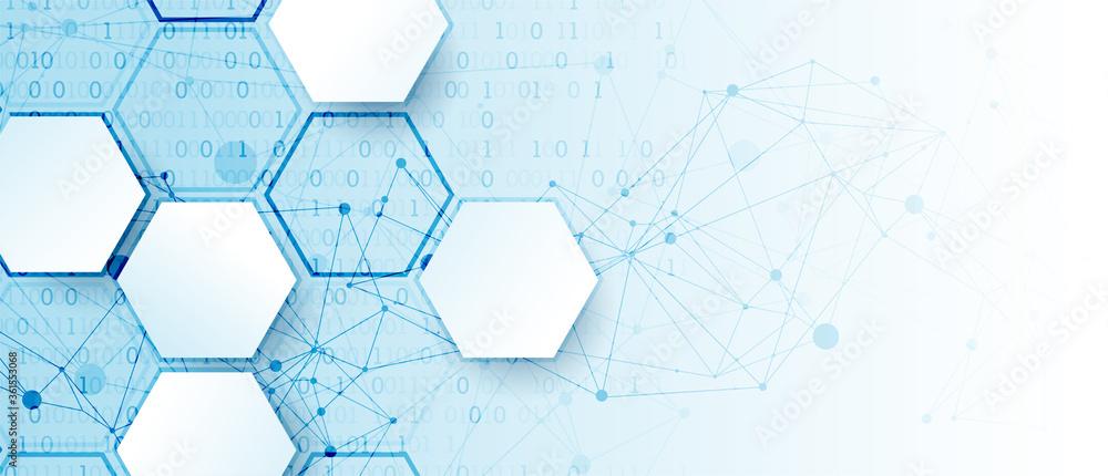 Fototapeta Technology background with plexus effect. Big data concept. Binary computer code.  Vector illustration.