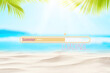 Leinwandbild Motiv Hello summer words on blur tropical beach with bokeh sunlight wave abstract background. Summer vacation and travel holiday concept.