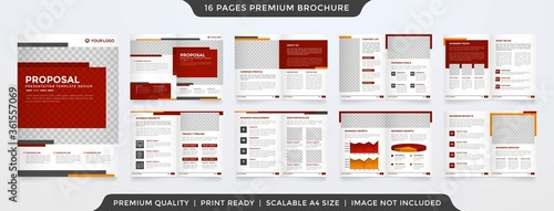 business brochure template layout design with simple style and modern concept us Canvas Print