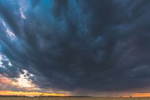 Summer Rainy Sunset Evening Ab...