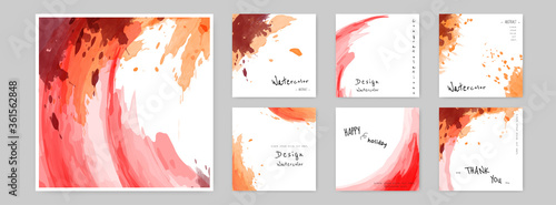 Set of Hand-painted Watercolor Card square layouts Canvas-taulu