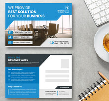 Creative Postcard Template Design With Blue Accents. Double Sided Vector Corporate Postal Card Layout. Print Ready Postcard