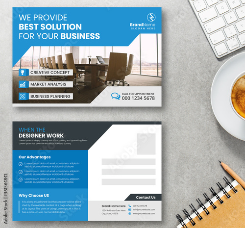 Obraz na plátne Creative Postcard Template Design With Blue Accents